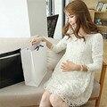 Primavera verão lace dress para as mulheres grávidas de manga longa maternidade dress para a gravidez plus size roupas ld789