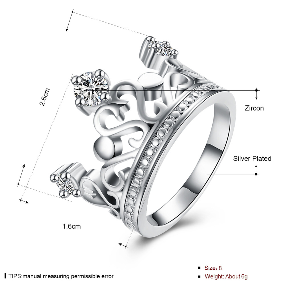 Top quality Silver Plated & Stamped 925 Ring silver fashion rings wome fine jewelry vintage crystal crown ring for wedding