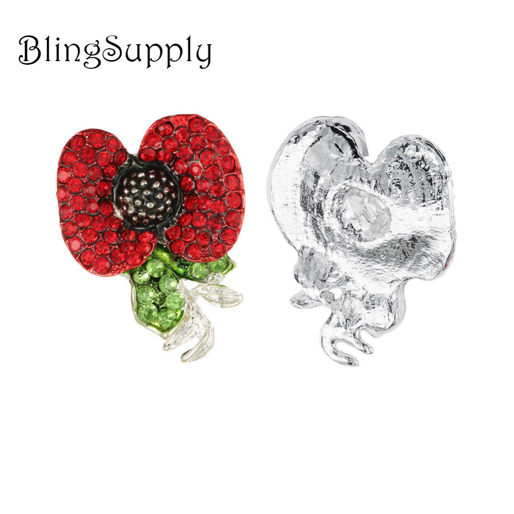 Free shipping 50PCS 40 32mm poppy flower rhinestone button BTN 5599