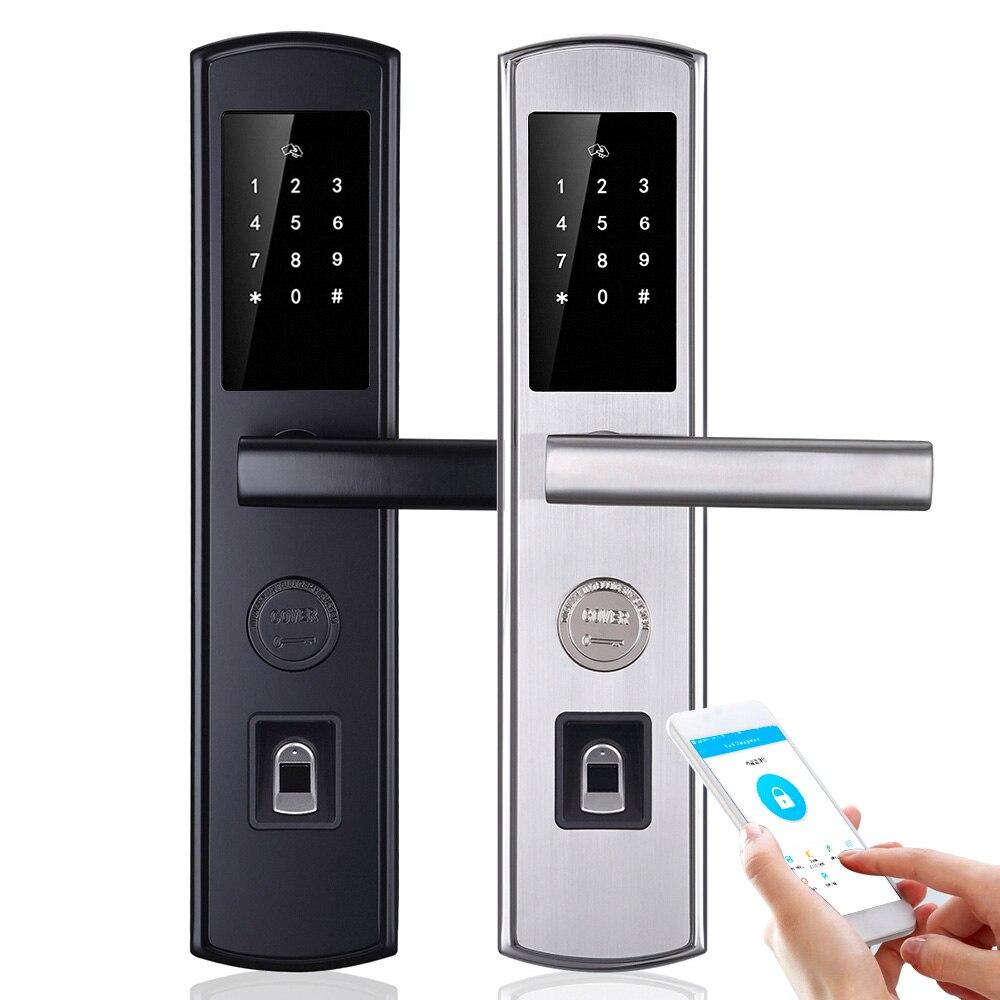 WiFi biométrico de huellas dactilares bloqueo inteligente encargarme de electrónica de puerta cerradura app/RFID/clave pantalla táctil Digital bloqueo de contraseña