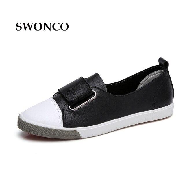 0aeb9768a SWONCO das Mulheres Sapatilhas Sapatos de Couro Branco Sapatos Casuais  Mulheres Apartamentos Tênis Branco Mulher 2018