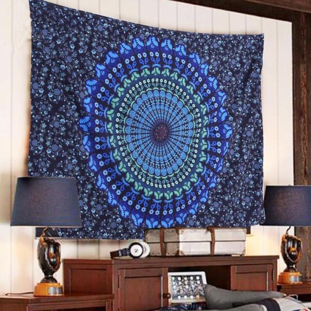 Indiano Mandala Arazzo Hippie Wall Hanging Blu Bohemian Copriletto