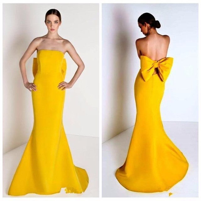 simple yellow evening dresses 2017 strapless slim women pageant gown ...