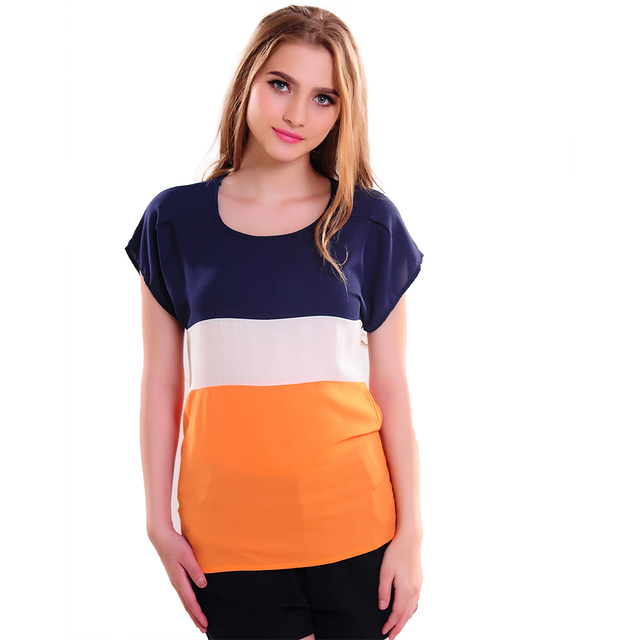 Hot Sale 2017 Women Shirts Fashion T-Shirts Ladies Shirts Red Green Stripe Color Lady Short Sleeve Plus Loose Size Tops T Shirts