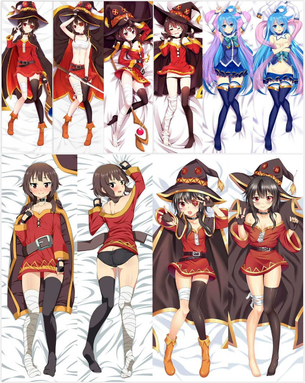 "59/"" KonoSuba Dakimakura Megumin Anime Girl Hugging Body Pillow Case Cover"