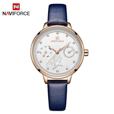NAVIFORCE Women Watch Fashion Quartz Lady Leather Watchband Date Week Casual Waterproof Wristwatch Gift for Girl 2019 New Blue Lahore