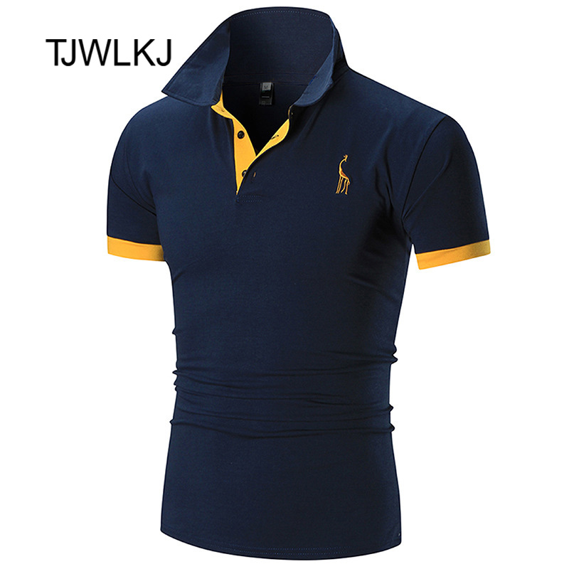 TJWLKJ New Man PoloShirt Brand Mens Casual Deer Embroidery Polyester   Polo   shirt Men Short Sleeve High Quantity   Polo   Men