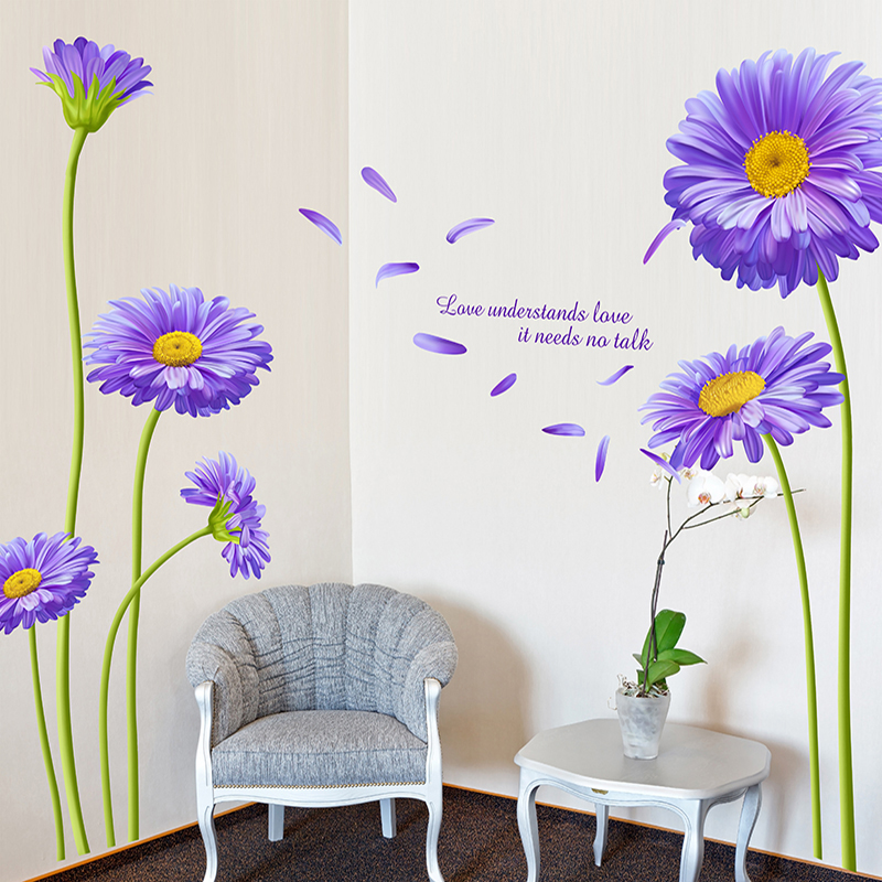 Purple Daisy Flowers Diy Wall Sticker For Living Room Bathroom