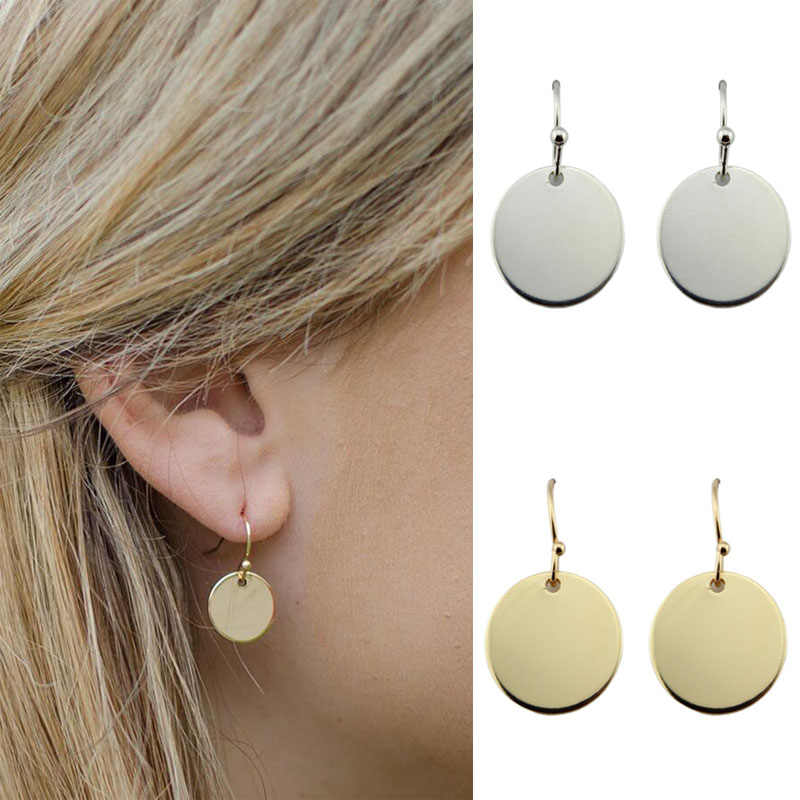Gold Silver Personalized Monogram Blank Minimalist Round Circle Disc Drop Earrings for Women Fashion Jewelry