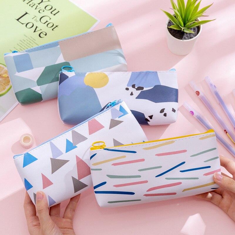 Sample Geometric Patterns Pencil Case Cute PU Leather Pencil Bag Pen Box Stationery Pouch Office School Supplies Escolar