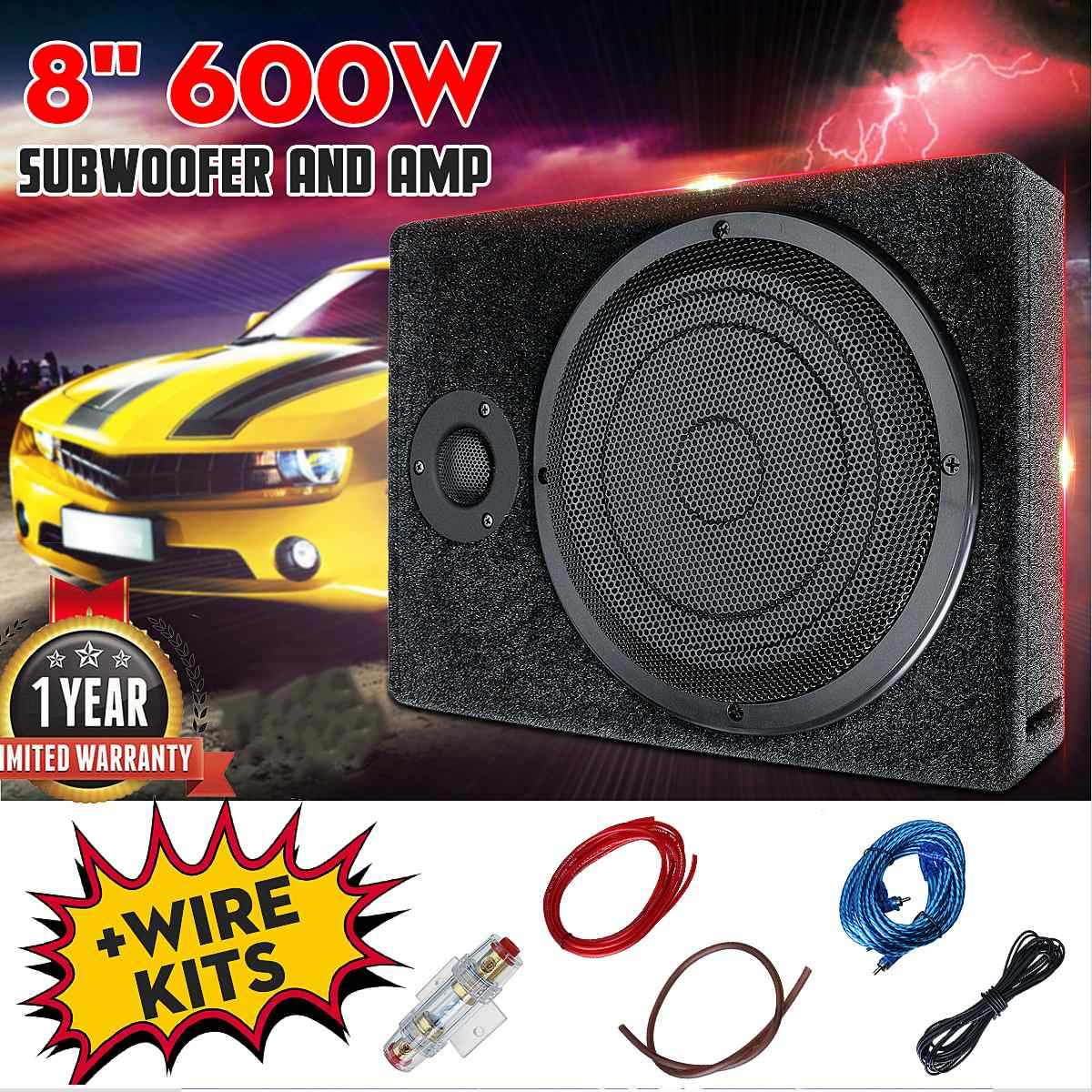 600W 8 Inch DC 12V Car Amplifier Audio Stereo Bass Speaker Car Audio Amplifiers Subwoofer Car Audio Amplifiers With Wire Kit