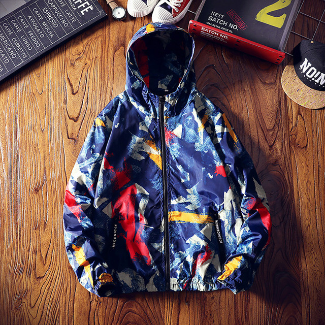 FeiTong Jacket Man 2018 Mens Autumn Winter Zip Camouflage Long Sleeve Pocket Sport Hoodies Coat Windbreaker Winter Jacket Men