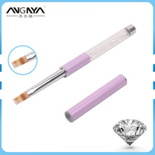 ANGNYA 1PC Clear Rhinestone Acrylic Handle Flat Nylon Hair Ombre Brush Professional UV Gel Nail Art Brush With Purple Cap