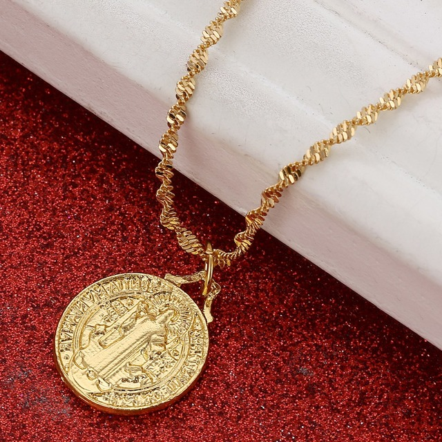 US $4 7 5% OFF|Gold Color Catholic Saint Benedict Round Medal Pendant  Necklaces Catholicism Jewelry Gifts-in Pendants from Jewelry & Accessories  on