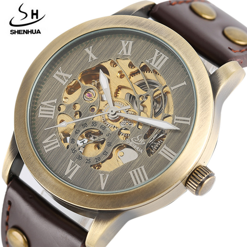 цена SHENHUA Steampunk Automatic Mechanical Watch Movements Luxury Gold/Bronze Self Wind Wristwatches Men Analog relogio Male Clock