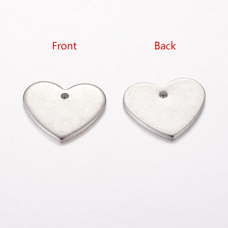10pcs Polishing 201 Stainless Steel Heart Blank Stamping Tag Pendants 33x34.5mm
