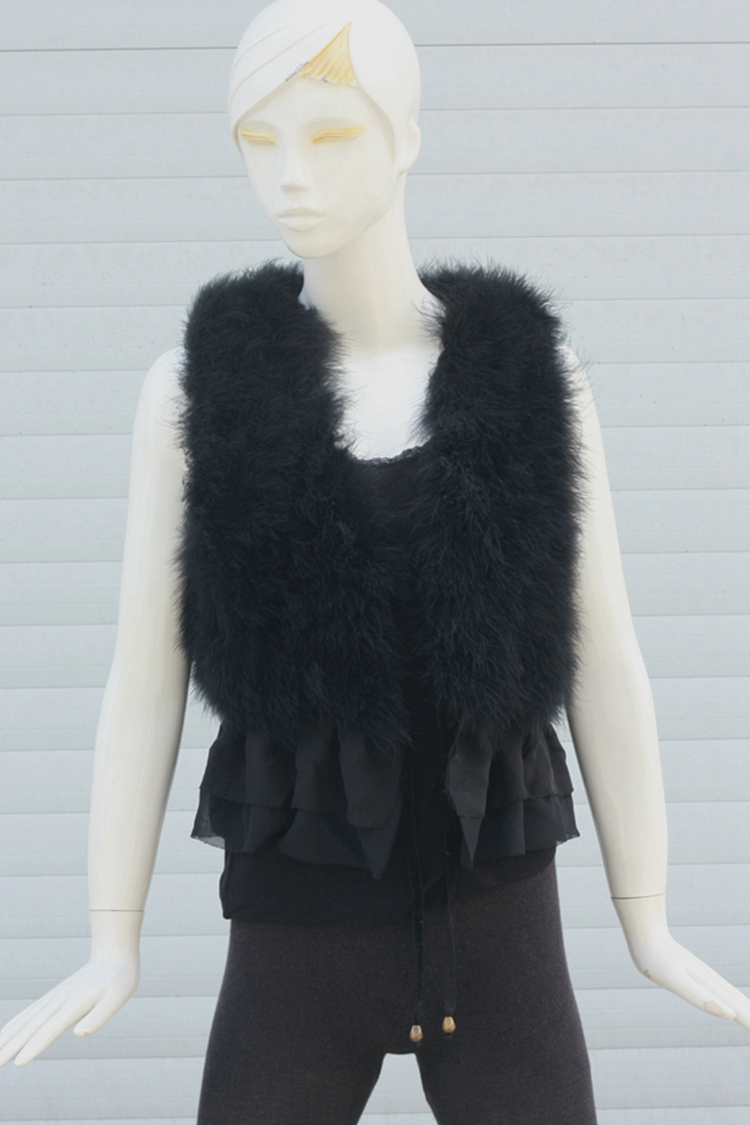2017 autumn and winter new imitation fur coat ostrich hair Slim chiffon fashion vest fur coat