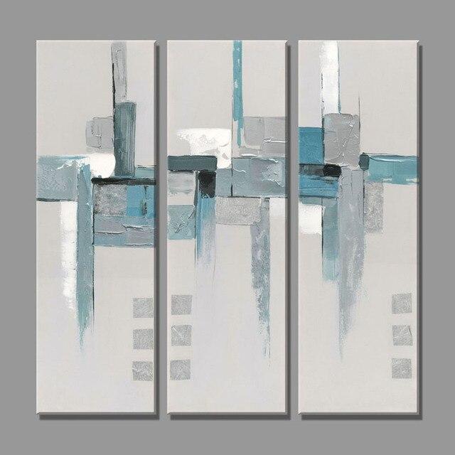 3 Stück Abstrakte Blau Weiß Und Grau Bilder ölgemälde Gemälde Für Wohnzimmer  Home Decor Wand Leinwand