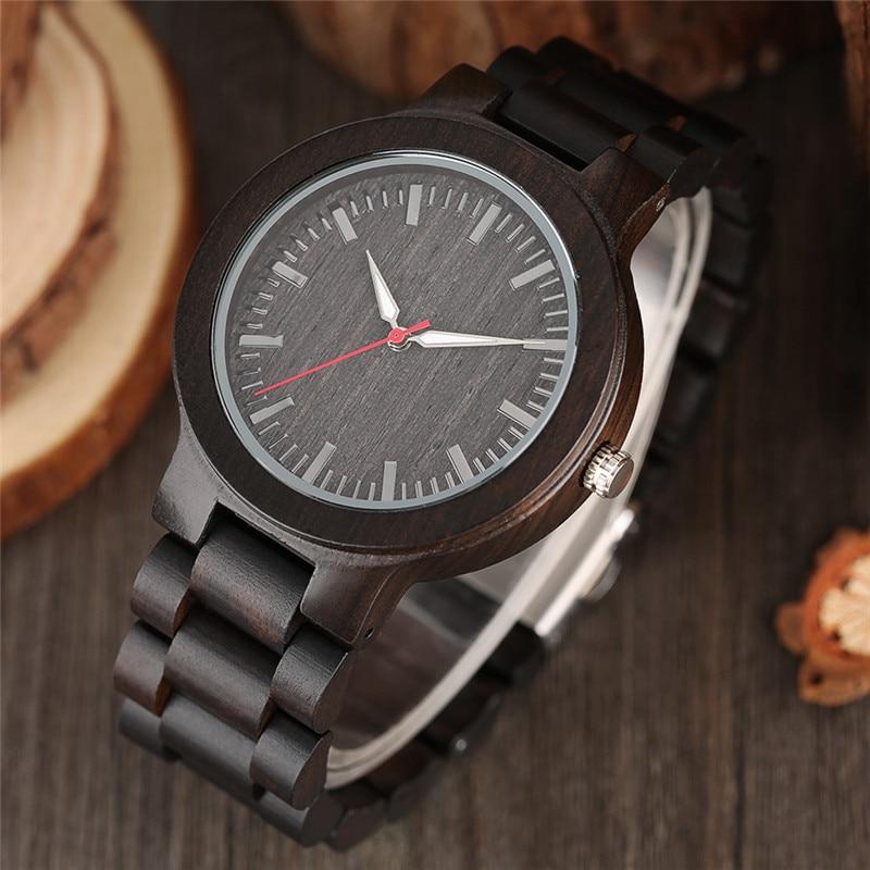 YISUYA Classic Luxury Black Ebony Analog Quartz Wristwatch Men - Տղամարդկանց ժամացույցներ - Լուսանկար 2