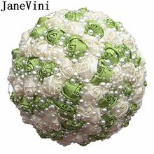 JaneVini Luxury Pearls Wedding Bouquet Blue White Bridal Ivory Satin Rose Brooch Flowers Handmade Ramo Novia Para Lanzar