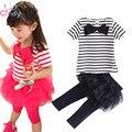 2pcs Outfit Baby Kid Girl Stripe Bow Tops Tee Shirt+Tulle Tutu Skirt Legging Set