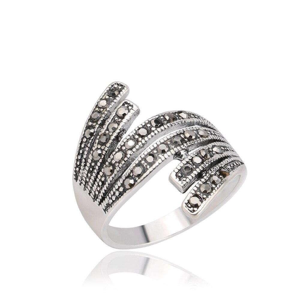 Utimtree геометрический Дизайн Для женщин свадебные туфли со стразами Серебряные кольца Jewelry Одежда высшего качества Обручение обещание anillos ...