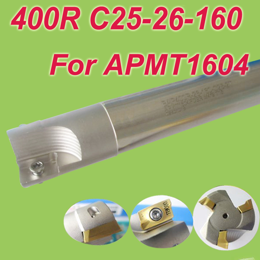 Free Shipping  400R SHK 25MM,Cutting Dia:26mm L:160mm 90 deg Square Inserted Endmill Bar Shoulder Cutting Tools for APMT1604