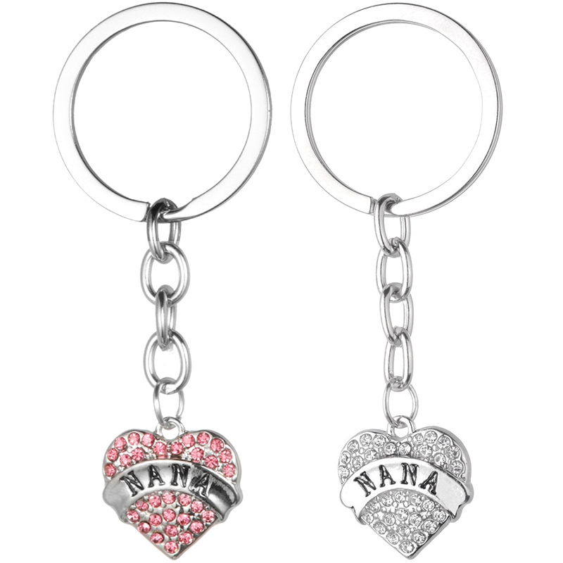 Crystal Heart Love NANA Pendant Keyrings Nanny Grandma Keychains Key Chain Holder Keyfob Gifts Xmas