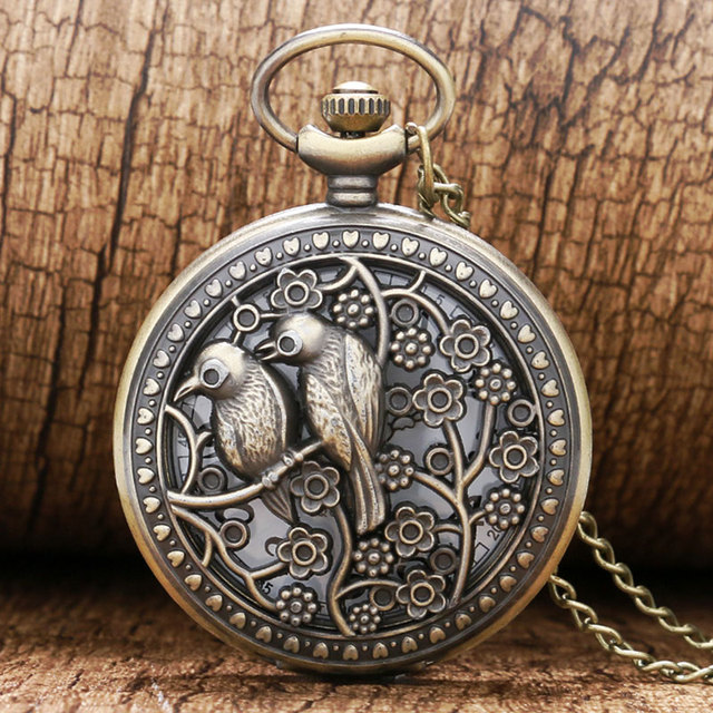 Bronze Lovely Bird Hollow Quartz Pocket Watch Retro Vintage Necklace Pendant Fob