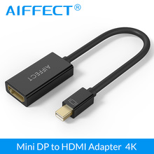 AIFFECT Mini DP to HDMI Adapter 4K DisplayPort Thunderbolt Male To HDMI Female Video Cable UltraHD Converter For PC TV Projector цена и фото