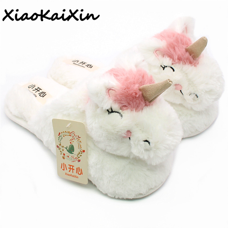 Lovely Cartoon Unicorn Slippers Women pantufa unicornio Slipper 2018 Winter Indoor Warm Plush Home slippers pantuflas unicornio lovely animal unicom little twin stars gemini unicorn cartoon home furnishing slipper indoor mute ma am slipper kawai toy gift