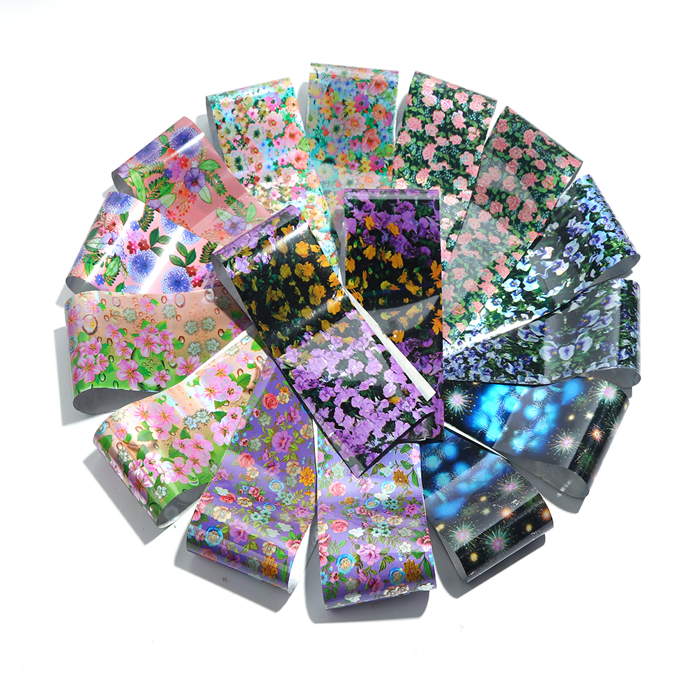 Image 3 - 16 Designs Flower Stickers for Nails Blossom Transfer Foil Set Floral Decals Slider Mixed Starry Paper Nail Art Decoration BE795-in Stickers & Decals from Beauty & Health