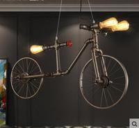 Велосипед кулон и Ветер трубы промышленность Ретро творческая личность Ресторан Настенный декор Велосипедное колесо подвесные светильник...