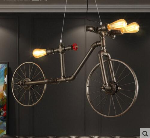 The bike pendant and wall wind pipe industry retro creative personality Restaurant Wall Decor bicycle wheel pendant <font><b>lights</b></font>