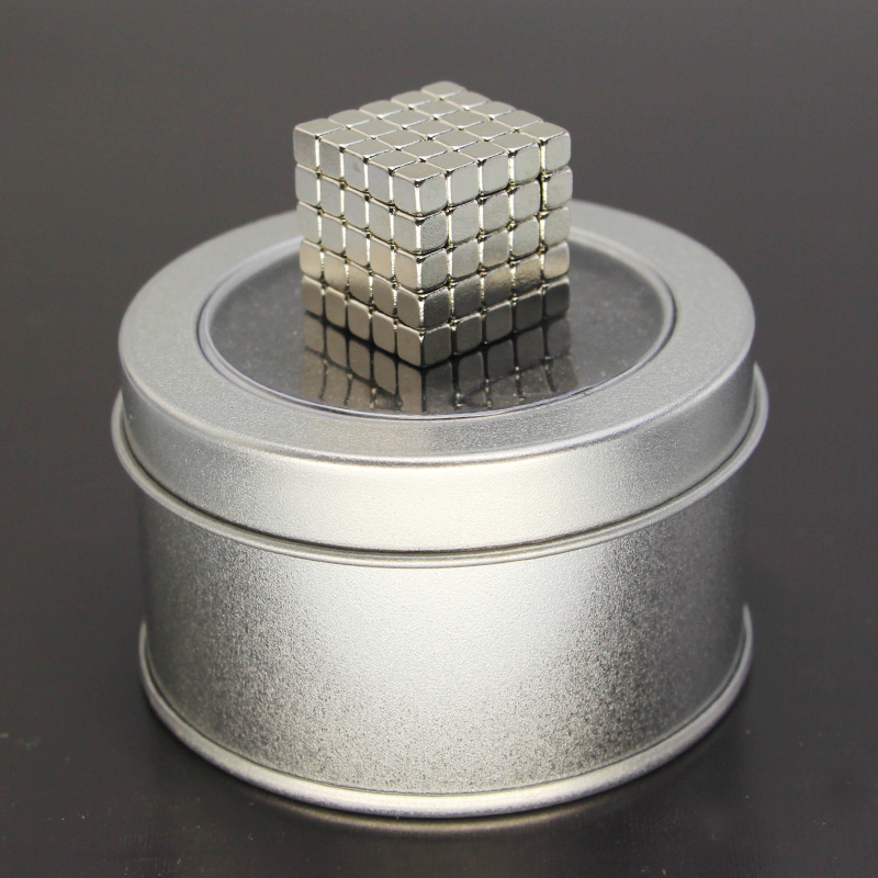 125PCS ,5mm Silver Neodymium Square Magnetic ,Puzzle NeoKub OF Magnetic Beads With Metal Box