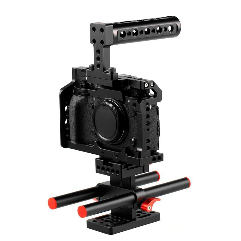 1Pcs Aluminum Alloy Camera Video Cage Top Film Making System For Fujifilm XT2  DSLR Cage Mount Microphone Monitor High Quality