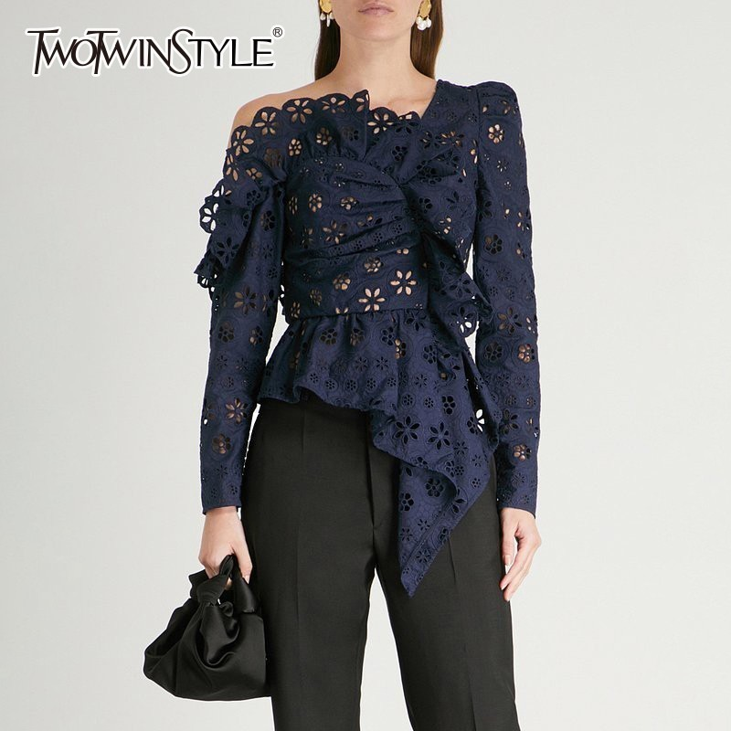 TWOTWINSTYLE Lace Shirts Blouse Female Long Sleeve Off Shoulder Hollow Out Asymmetrical Tops Female Autumn 2020 Sexy Fashion
