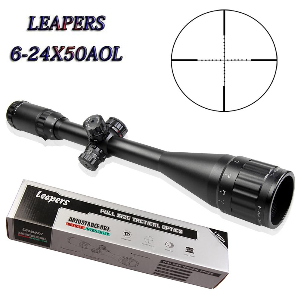 LEAPERS 6-24X50 AOL Cannocchiali Fucile Da Caccia Sniper Scope Tactical Ottica Scopes R/G/B Illuminato Per Fucile Da Caccia pistole ad aria