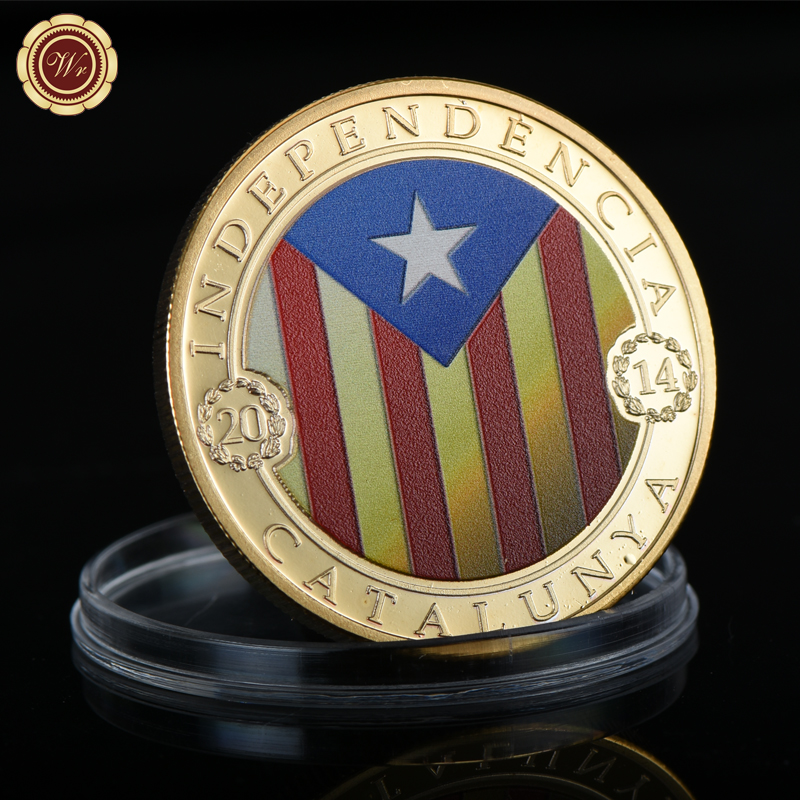 WR Catalunya Colored Gold Plated Coin Home Decor 24K 300 Anys Golden Metal Coin for Business Gifts