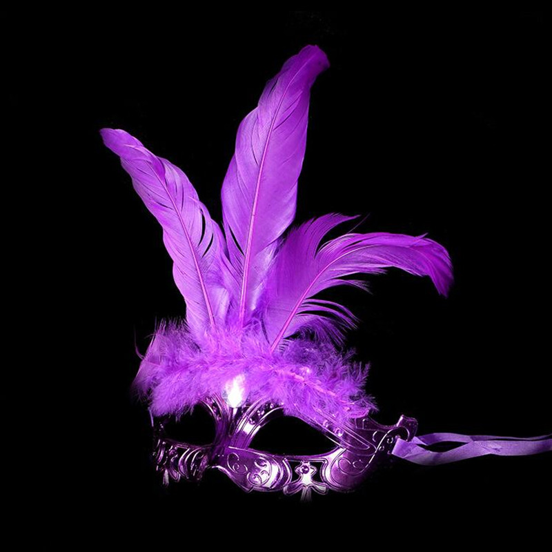 Women Lady Girls Fluff Feather Mask Dance Performance Show Mardi Gras Masks Masquerade Birthday Party Carnival