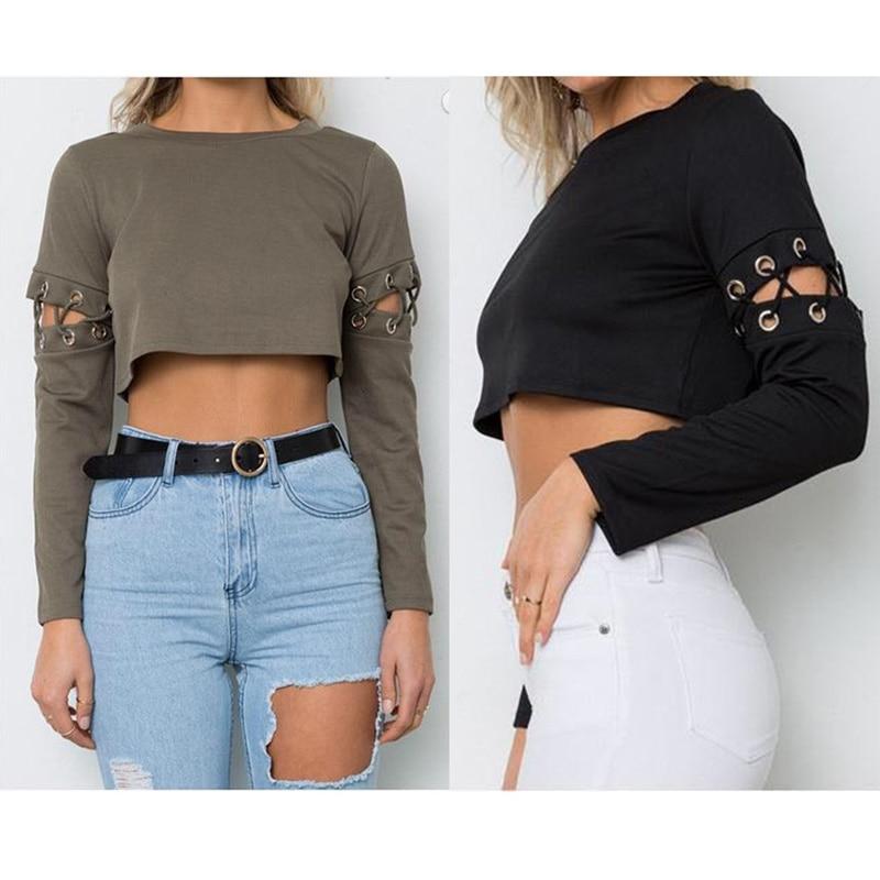 Blouses 2017 Autumn Women Tunic Boho Clothing Full Sleeve O Neck Mexican Blouse Hole Solid Short Style Casual Feminine Blouses