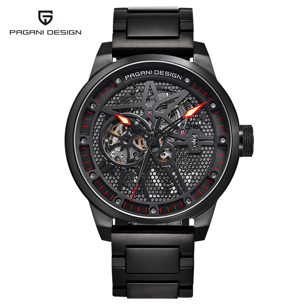Фотография PAGANI DESIGN Steel Strap Automatic Mechanical Watches Mens Business Skeleton Hollow Watch Men Waterproof Male Clock saat 2018