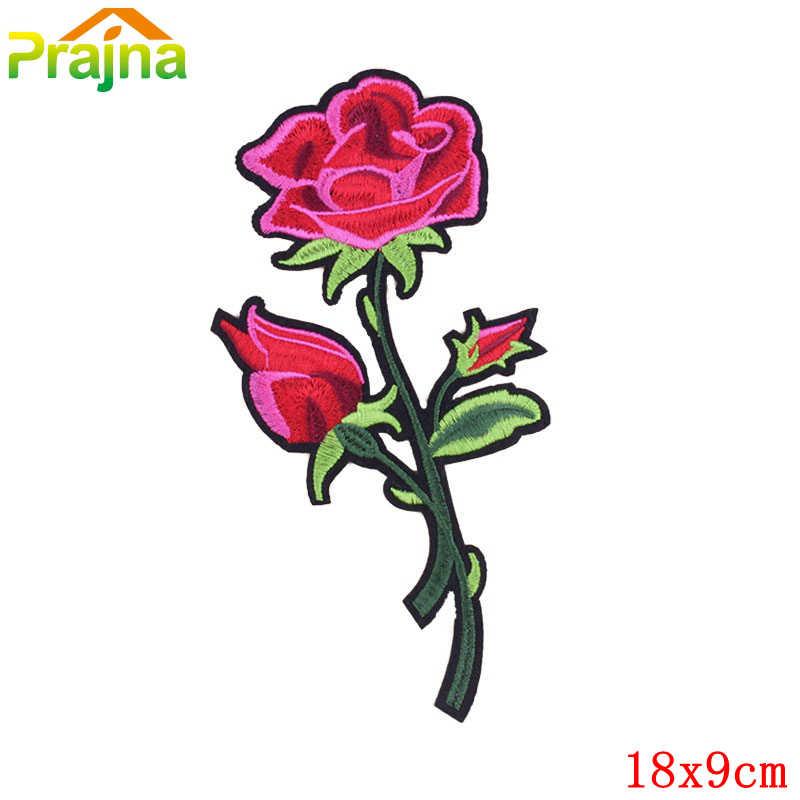 1 Uds. Pájaro Rosa Flor de aplique bordado parches hierro en dibujos animados parches baratos parches de costura para ropa linda insignia de anime