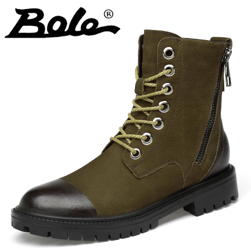 High Quality Boots for Men Green Black Genuine Cow Leather Boots Round Toe Lace Up Winter Fur Shoes Big Size37-47 Male Shoes New the new high quality imported green cowboy training cow matador thrilling backdrop of competitive entrance papeles