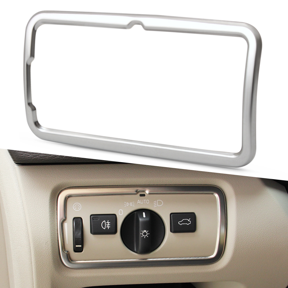 Car styling Car headlight switch frame decoration cover trim stainless steel decal strip for Volvo XC60 S60 V60 S80 V40