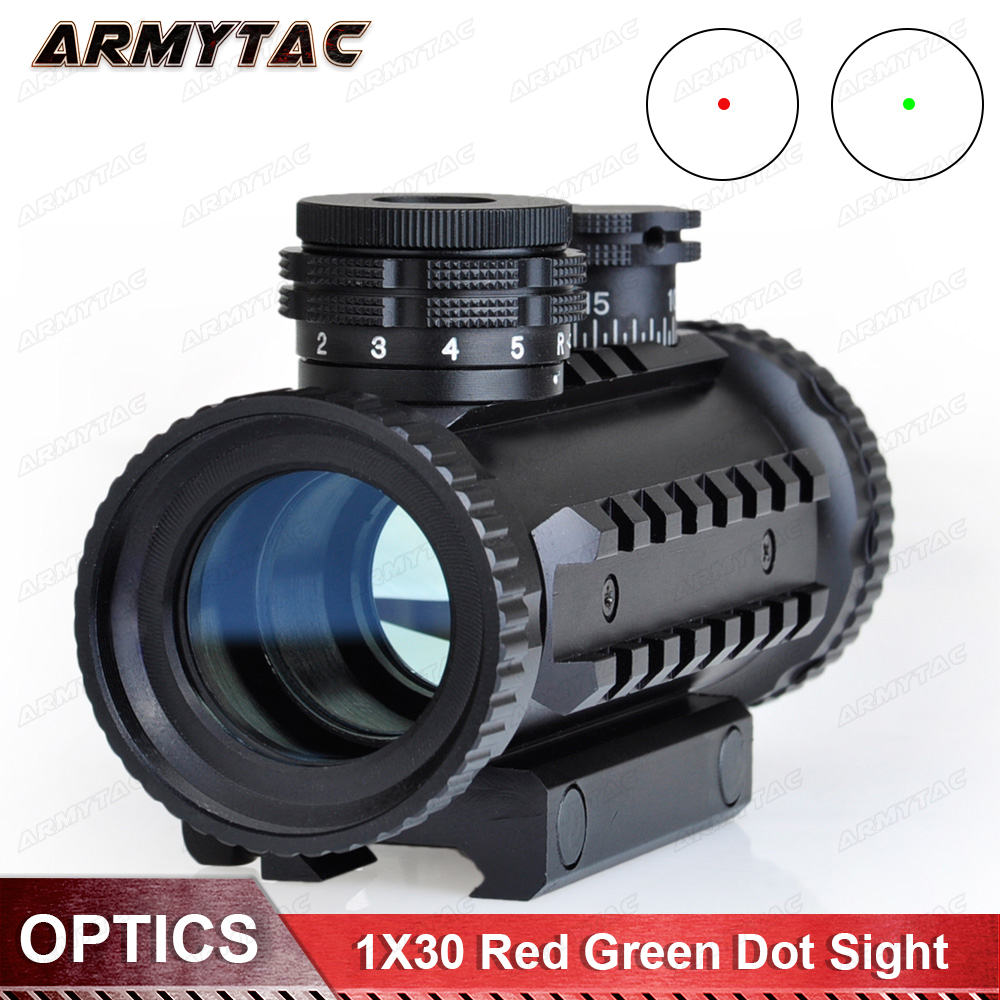 1X30 Red Green Dot Sight Tactical Optical Scope Airsoft Riflescope Hunting Rifle Scope tactial qd release rifle scope 3 9x32 1maol mil dot hunting riflescope with sun shade tactical optical sight tube equipment