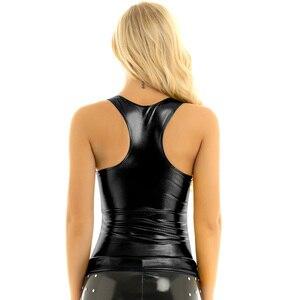 Image 3 - iiniim Womens Femme Fashion Clubwear Punk Dance Tanks Tops Shiny Metallic Racer Back Slim Fit Summer Camisole Tank Top Vest Top