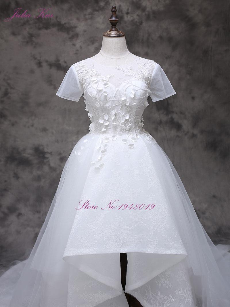 2017 Vestidos De Novias s malým 3D květinovým krátkým rukávem A - Svatební šaty - Fotografie 2