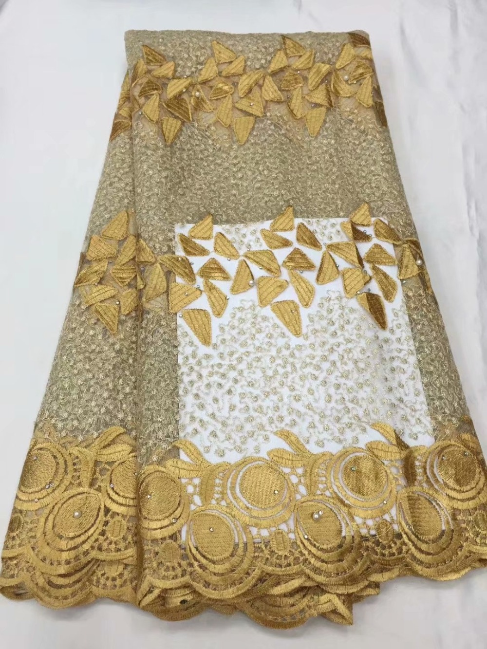 French Embroidered Lace Fabric 2019 Latest African Mesh Tulle Bead Lace Fabric 5Y Nigerian Guipure Lace Fabric