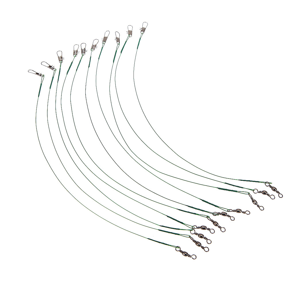 10pcs  set fishing lure line trace wire leader swivel